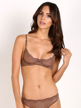 Model in chocolate Timpa Duet Lace Underwire Demi Bra