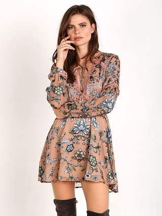 For Love & Lemons Saffron Mini Dress Teal Floral