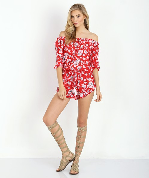 Faithfull the Brand Cabana Playsuit Summer Dreams Red