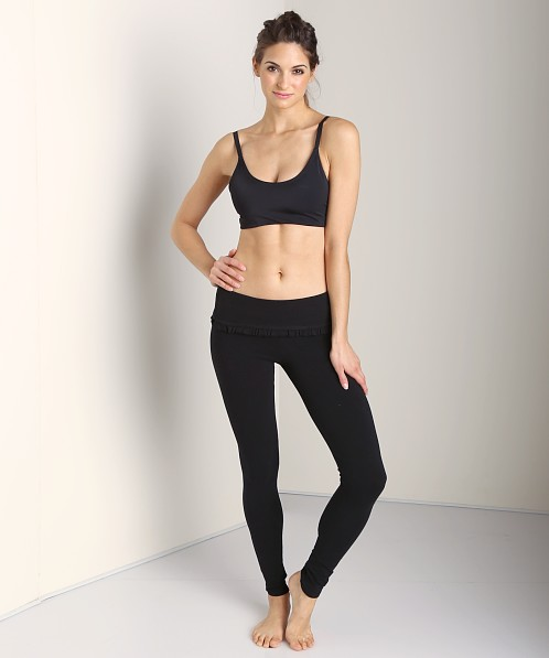 Solow Ruffle Foldover Long Legging Black