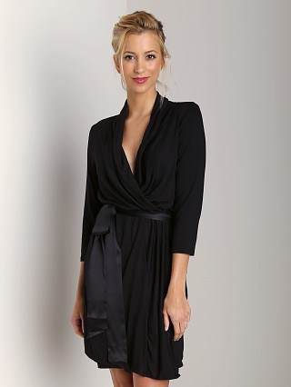 Fleur't Short Robe with Tie Black