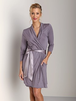 Fleur't Short Robe with Tie Purple Sage