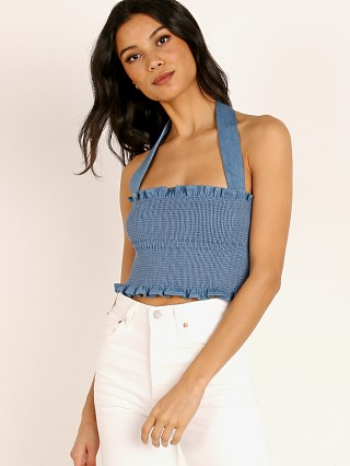 Capulet Penelope Smocked Crop Top Classic Denim