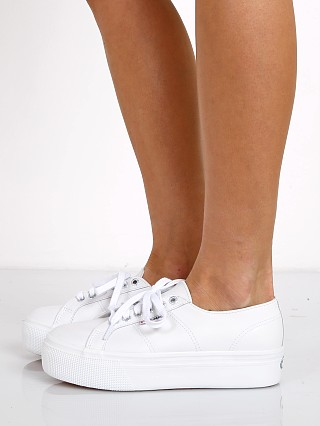 Superga Auleaw Leather Platform Sneaker White