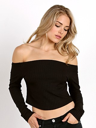 LNA Clothing Off Shoulder Crop Black