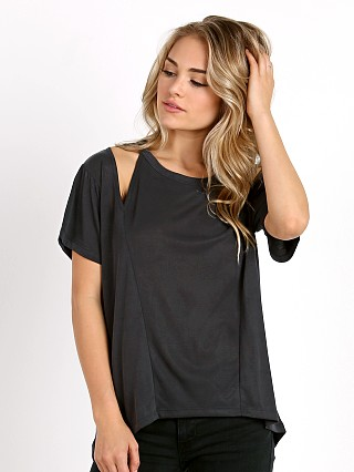 LNA Clothing Short Sleeve Slice Top Sueded Black