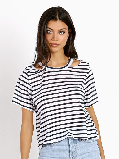 LNA Clothing Stripe Cut Out Crop Tee White / Navy Stripe