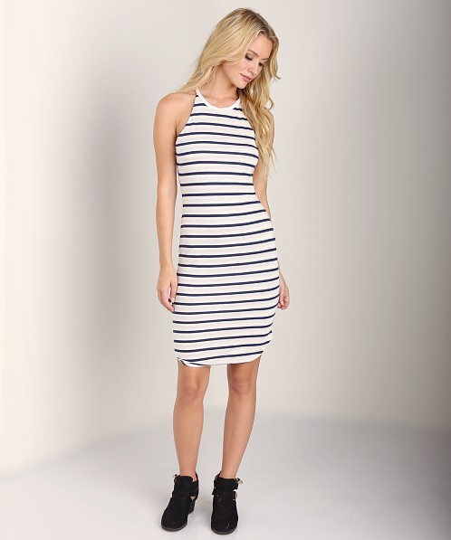 LNA Clothing Elise Dress Natural/Navy Stripe