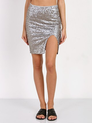 Amuse Society Florence Skirt Metallic Sequin Silver
