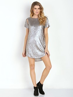 Amuse Society Midnight Dress Metallic Sequin Silver