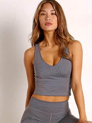 Beyond Yoga Ribbed Cropped Tank Gray Heather