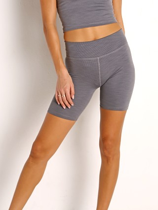 Beyond Yoga Heather Rib High Rise Biker Short Gray Heather