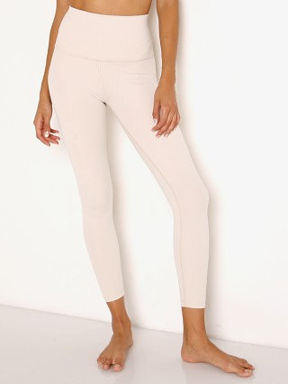 Beyond Yoga Heather Rib High Waist Midi Legging Cream Heather