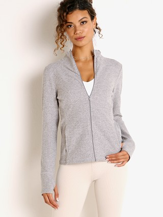 Beyond Yoga Spacedye Fitted Mock Neck Jacket Silver Mist