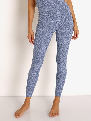 Model in indigo white Beyond Yoga Spacedye High Waisted Midi Legging