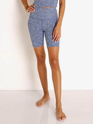 Model in indigo white Beyond Yoga Spacedye High Waisted Pocket Biker Short  Indigo Whi