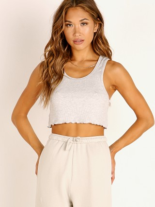 Model in grey Joah Brown Scalloped Crop Tank