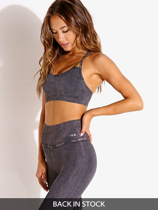 Model in black wash NUX Levitate Sports Bra Mineral Wash