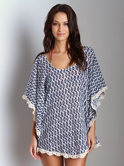Eberjey Tribal Goddess Clara Tunic Cover Up Deep Blue