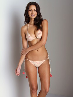 Eberjey Desert Flower String Bikini Bottom Natural