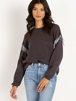 LNA Clothing Chain Fringe Sweatshirt Black Limo