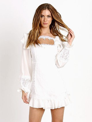 For Love & Lemons Crema Silk Linen Dress White