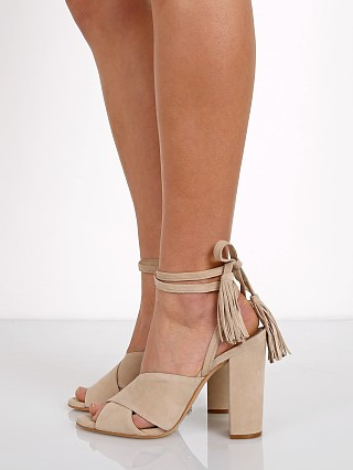 Model in oyster Schutz Damila Kid Suede Wrap Block Suede