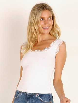 LNA Clothing Lace Trim Rib Tank White