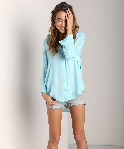 Bella Dahl Shirt Tail Button Aqua Mist