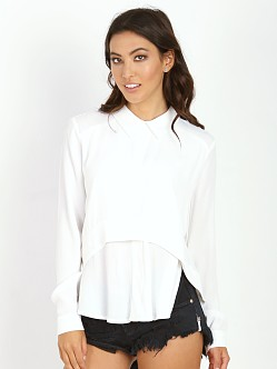 Line & Dot Abstract Collared Blouse White