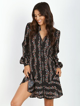 Free People Buttondown Shirt Dress Black Combo