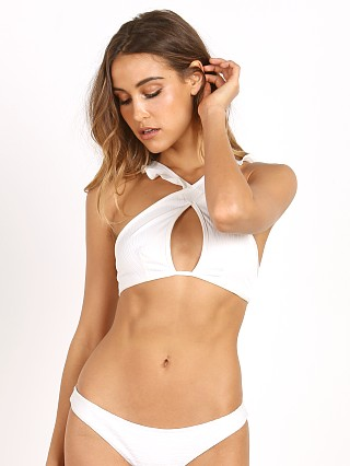 For Love & Lemons La Playa Ruffle Bikini Top Ivory