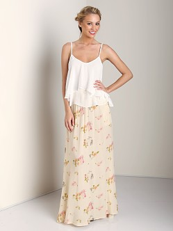 One Teaspoon Feather Rose Maxi Skirt