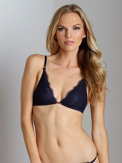 Calvin Klein Eyelash Chantilly Lace Triangle Bralette Night Blue