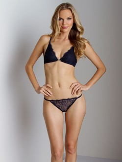 Calvin Klein Eyelash Chantilly Lace Thong Night Blue