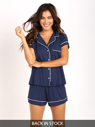Model in navy/ivory Eberjey Gisele Short PJ Set