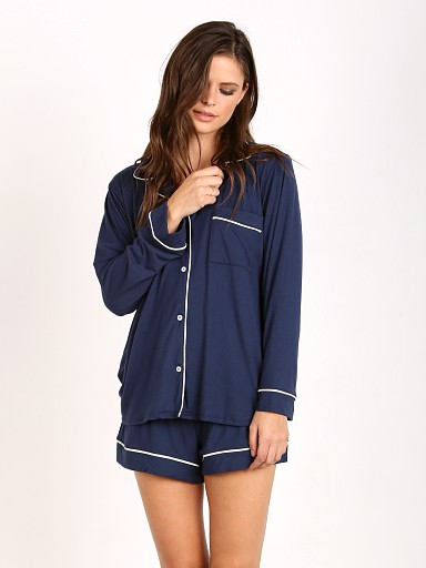 Eberjey Gisele PJ Long Sleeve with Short Set Navy/Ivory