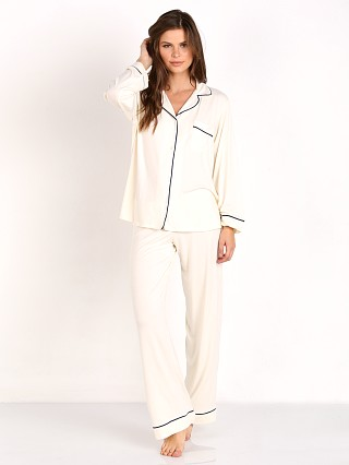 Model in ivory/navy Eberjey Gisele PJ Set