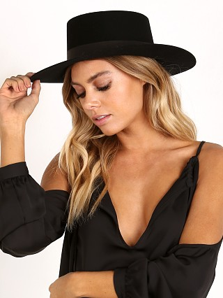 Model in black Janessa Leone Gabrielle Bolero Hat