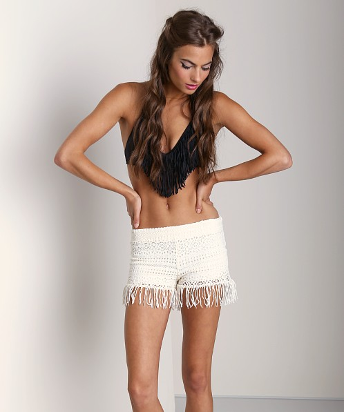 Nightcap Crochet Fringe Short Ivory