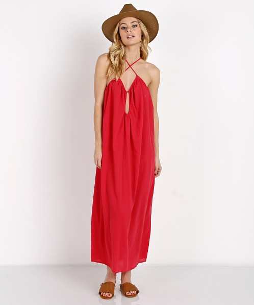 9seed Positano Long Dress Cherry Red