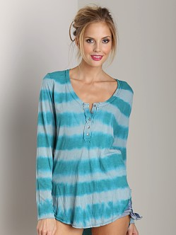 Free People Shiny Slub Radical Tunic Mineral Green Combo