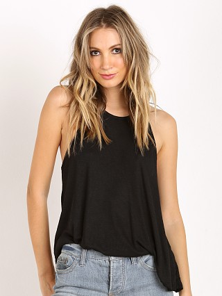 Free People Rayon Slub Long Beach Tank Black