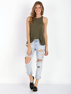 Free People Rayon Slub Long Beach Tank Olive