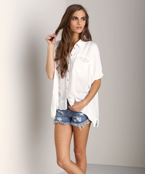 Free People Butter Rayon Shirt White
