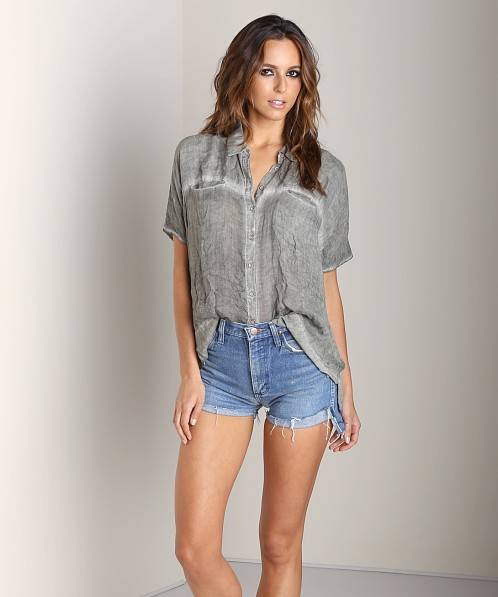 Free People Butter Rayon Shirt Camo