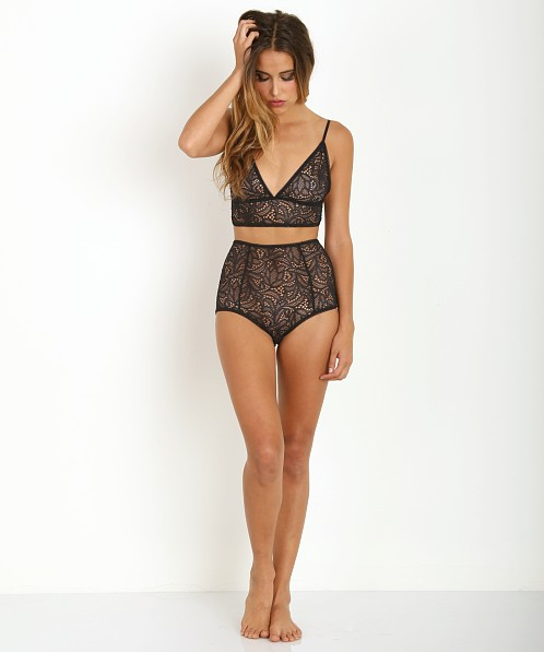 SKIVVIES by For Love & Lemons Infamous Lace Plunge Bra Black