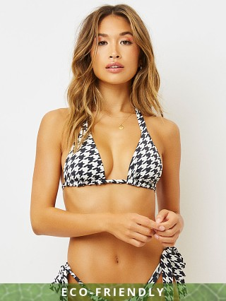 Model in houndstooth Frankie's Bikinis Veronica Eco Bikini Top