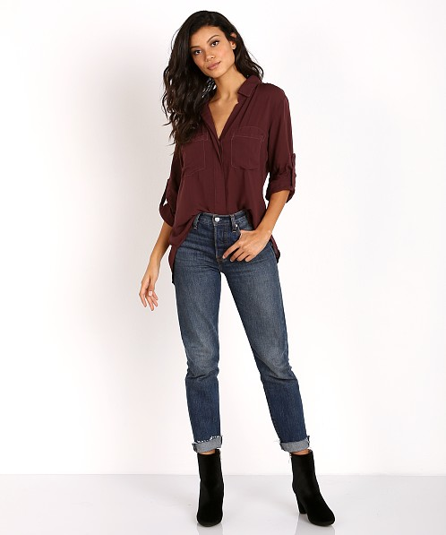 Bella Dahl Split Back Button Down Spiced Berry