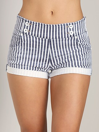 Free People Mariner Denim Shorts Ivory/Navy Stripe